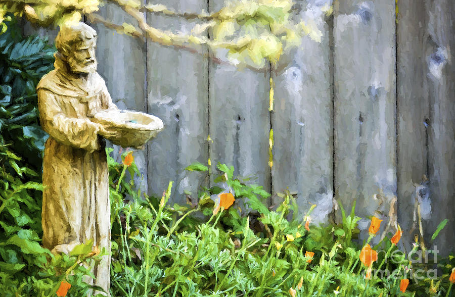 Wooded Fence Photograph - Garden Monk by Flamingo Graphix John Ellis