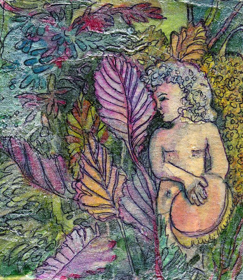 Child Painting - Garden Muse by Mindy Newman