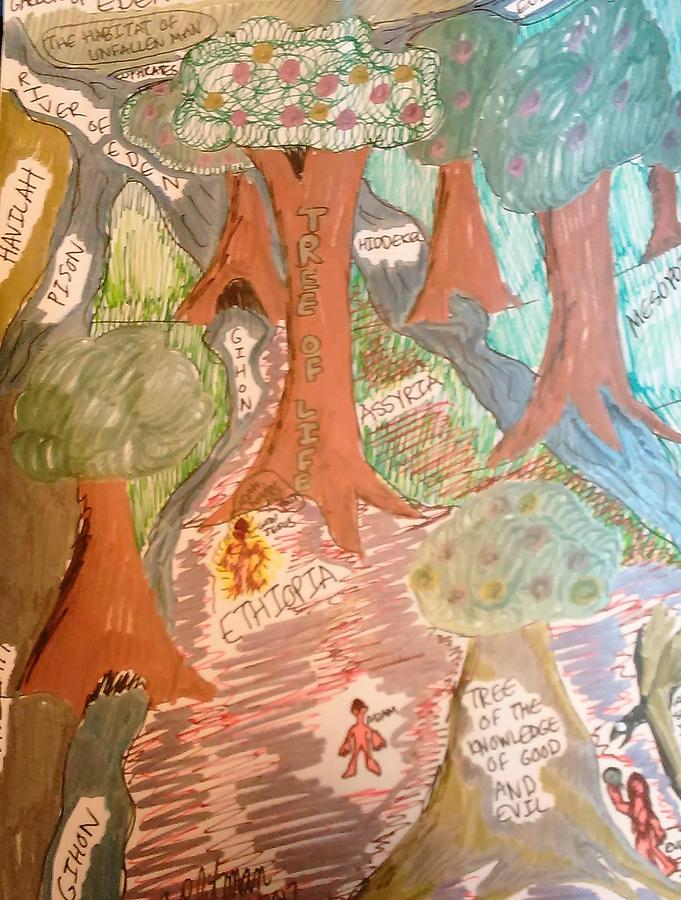 Landscape Drawing - Garden Of Eden Before The Fall Of Man by Andrew Blitman