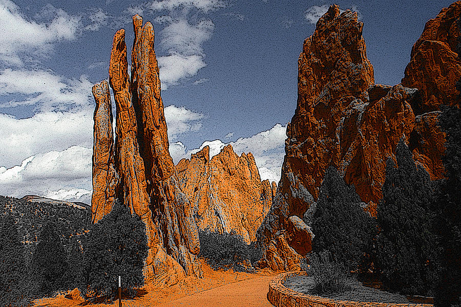 Garden of Gods Colorado - Photo Art Illustration by Peter Potter
