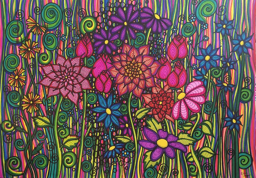 Flowers Drawing - Garden Of Happiness  by Ellen Jagger