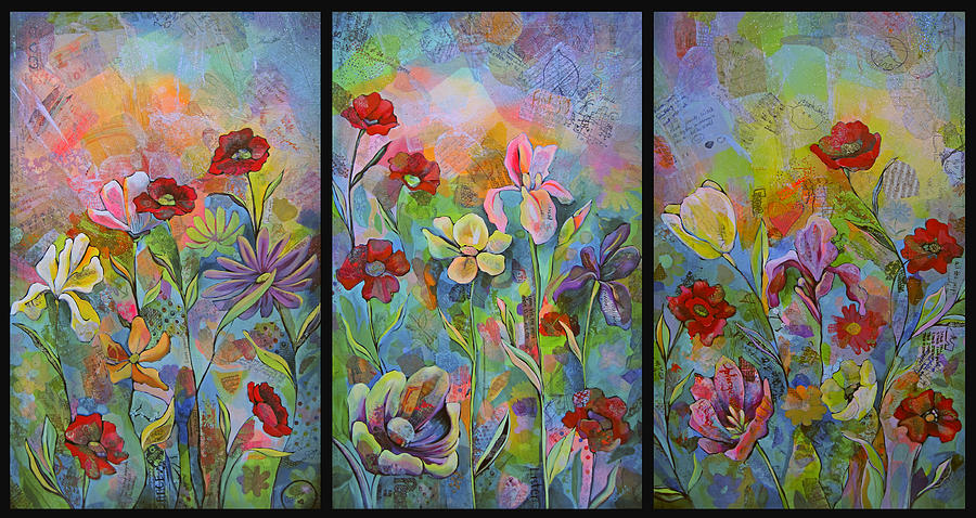 Garden Painting - Garden of Intention - Triptych by Shadia Derbyshire