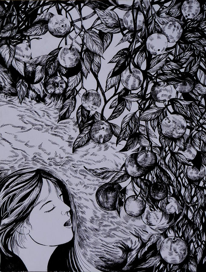 Pen And Ink Drawing - Garden Of Temptation by Anna  Duyunova
