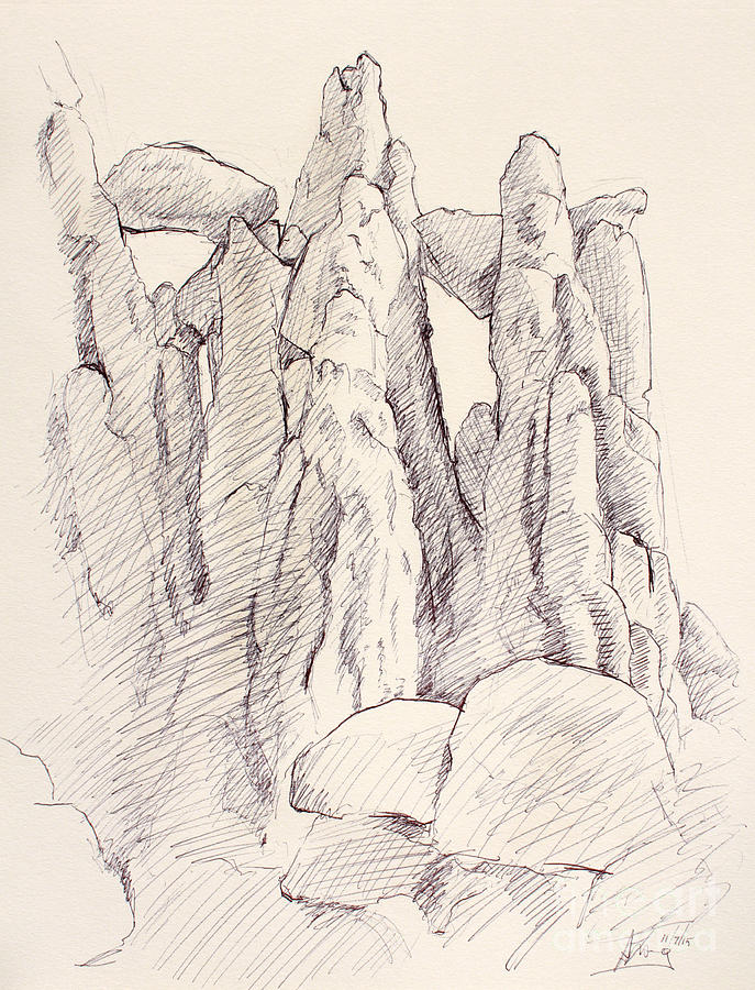 garden of the gods pulpit rock ink on toned paper drawing by adam long