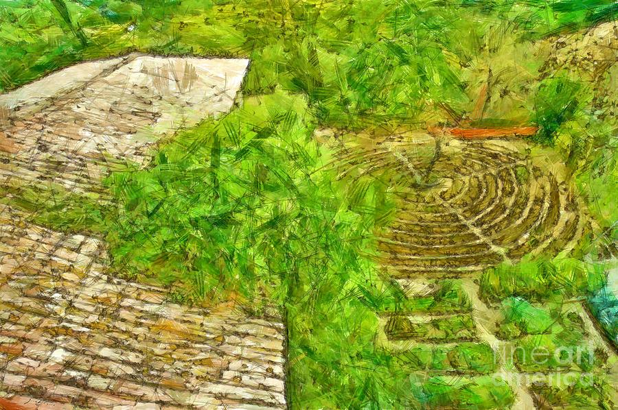 Pencil Digital Art - Garden Of The Simple by Giuseppe Cocco
