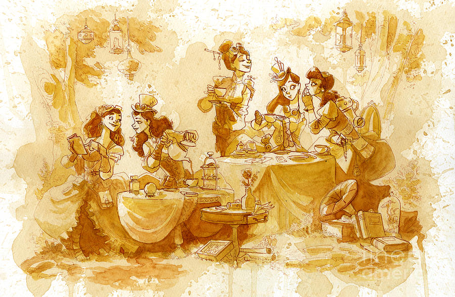 Steampunk Painting - Garden Party by Brian Kesinger
