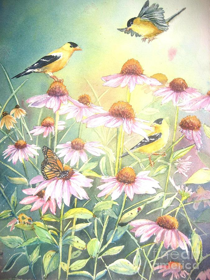 Goldfinch Painting - Garden Party by Patricia Pushaw