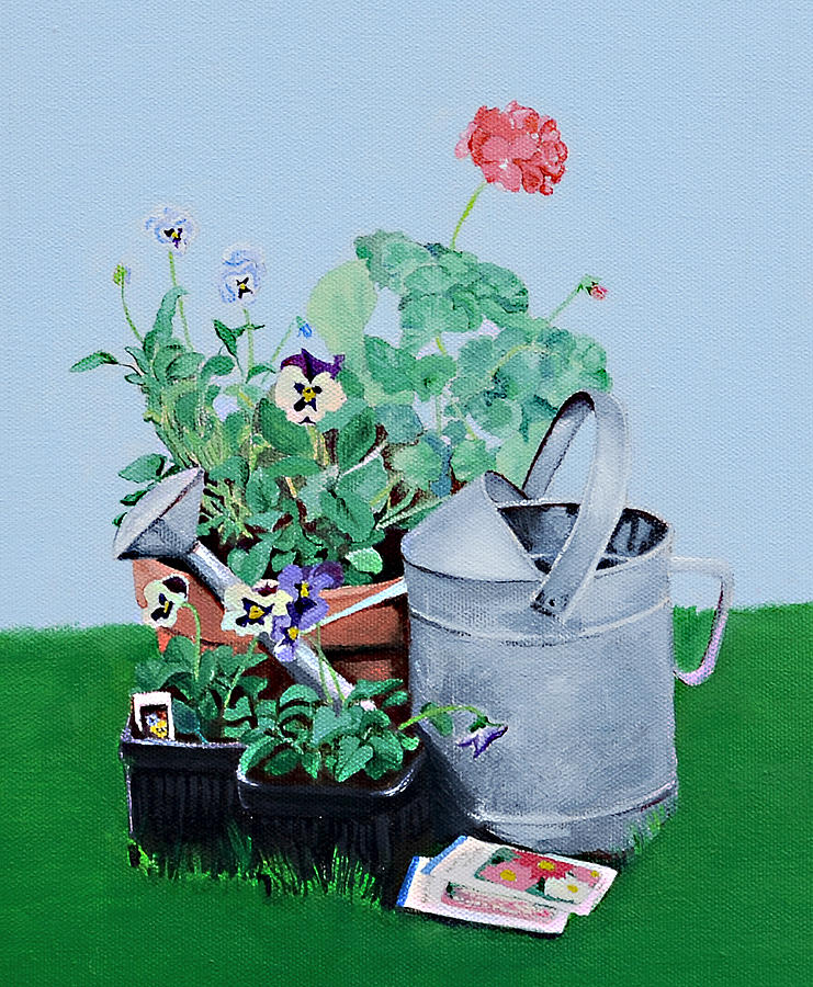 Garden Painting - Garden Prep by Mary Chant