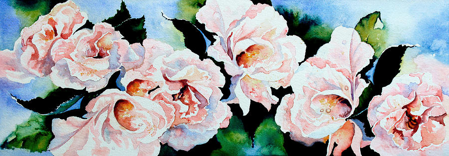 Pink Roses Painting - Garden Roses by Hanne Lore Koehler