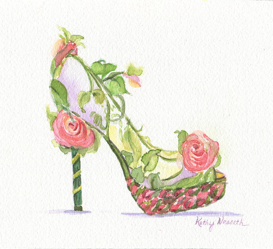 Watercolor Painting - Garden Shoe by Kathy Nesseth