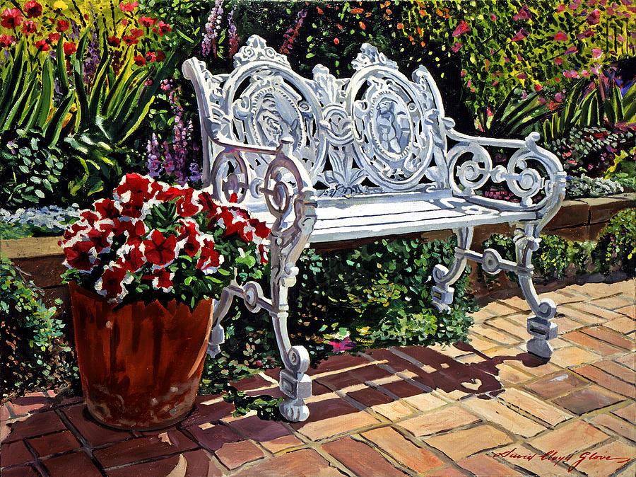 Garden Painting - Garden Sitting Place by David Lloyd Glover