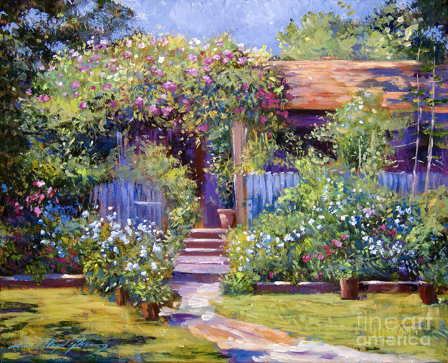 Garden summer cottage painting by david lloyd glover for Garden painting images