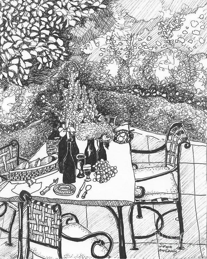 Still Life Drawing - Garden Table by Jo Anna McGinnis