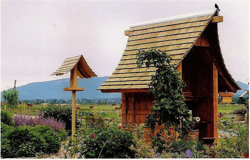 Garden Shed Sculpture - Produce Stand And Bird Feeder, 2005 by Leizel Grant