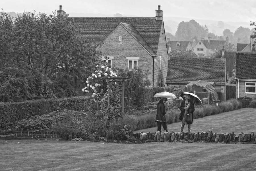 Chipping Campden Photograph - Garden Tour In The Rain Monotone by Wendy Chapman