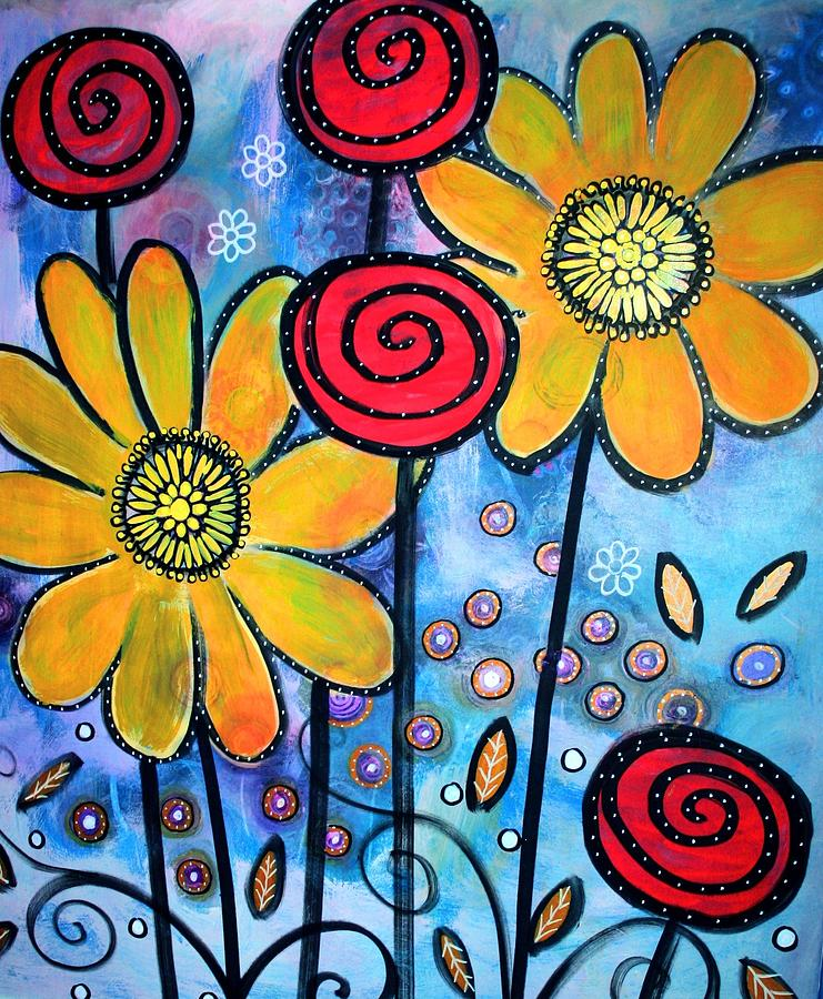 Flowers Painting - Garden View 3 by Rick Cheadle