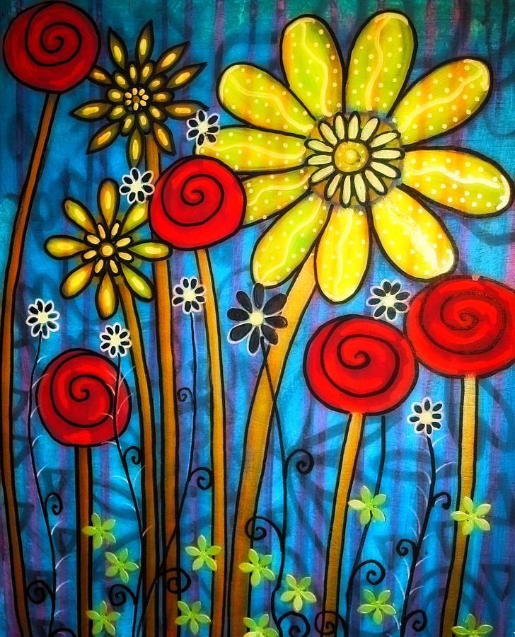Flowers Painting - Garden View 4 by Rick Cheadle