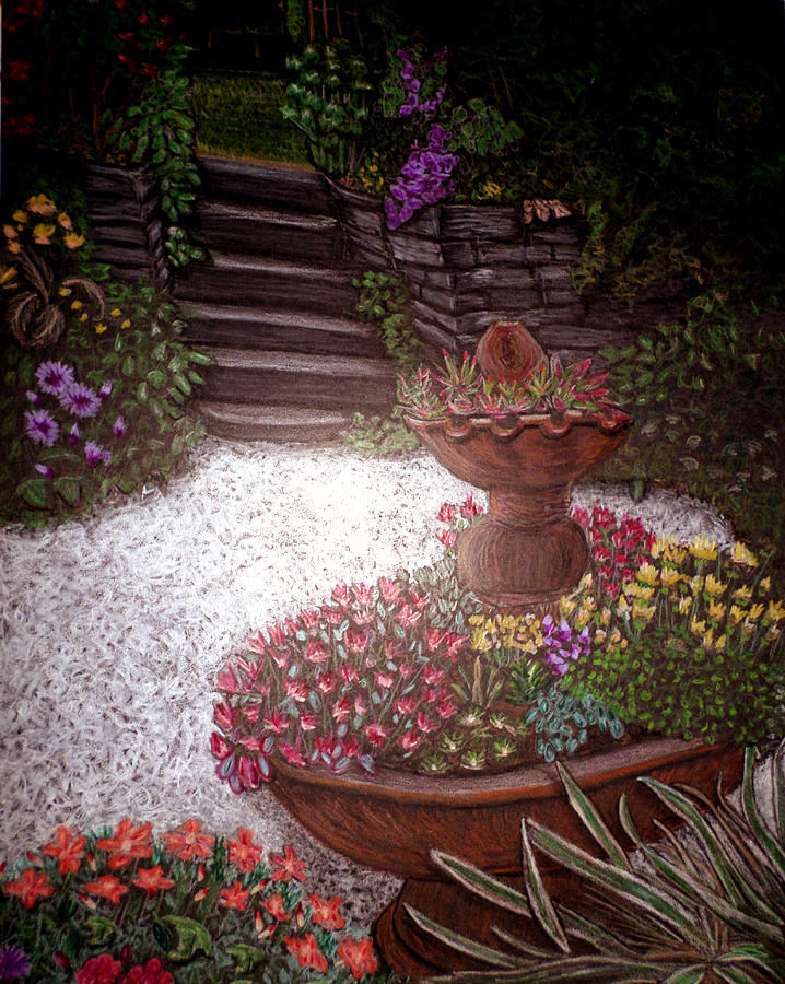 Owl Drawing - Garden View by Michelle Audas