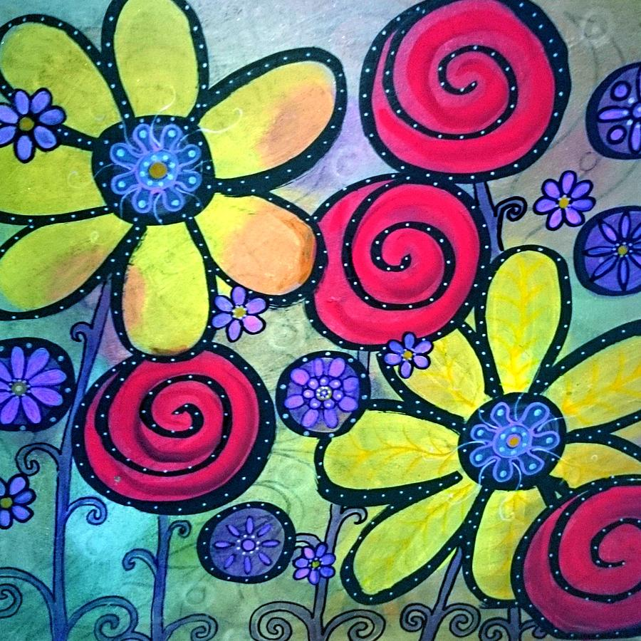 Flowers Painting - Garden View by Rick Cheadle