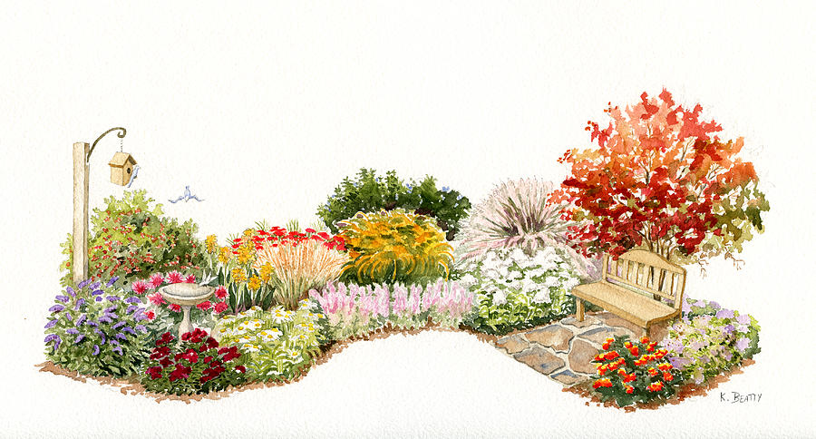 Garden Painting - Garden Wild Flowers Watercolor by Karla Beatty