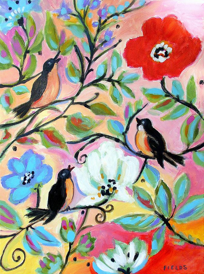 Birds Painting - Garden With 3 Birds by Karen Fields