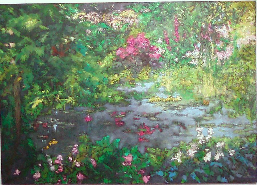 Landscape Painting - Garden With Mirror Of Water by Krystyna Suchwallo