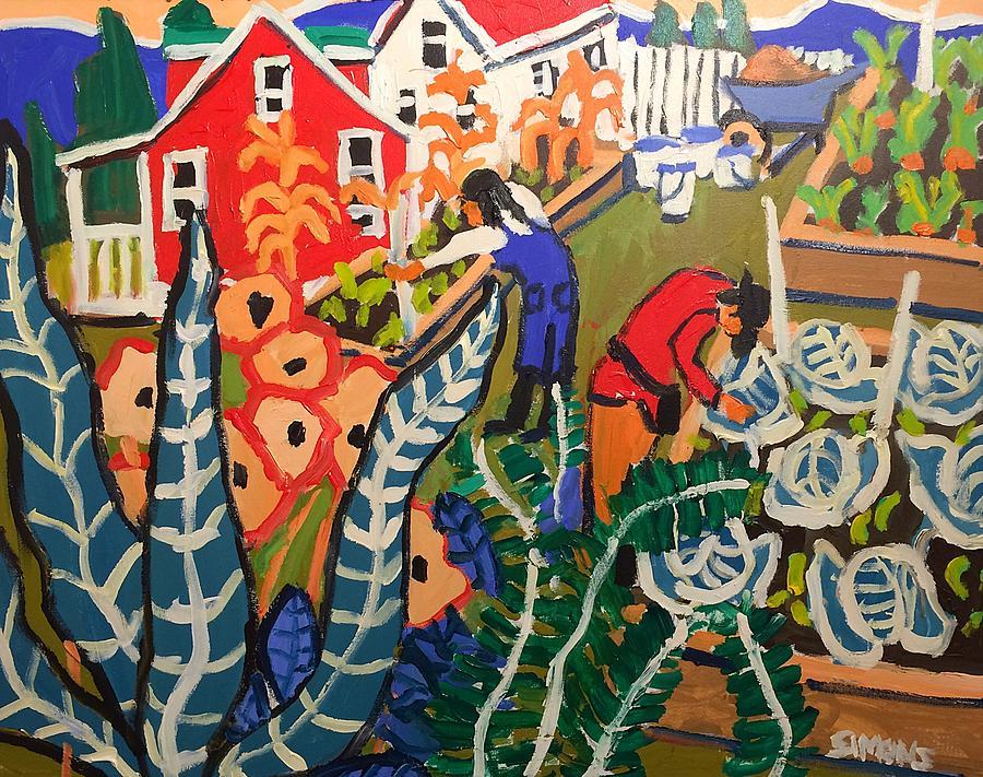 Brian Simons Painting - Gardeners by Brian Simons