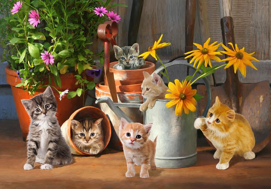 Garden Digital Art - Gardening Kittens by Bob Nolin