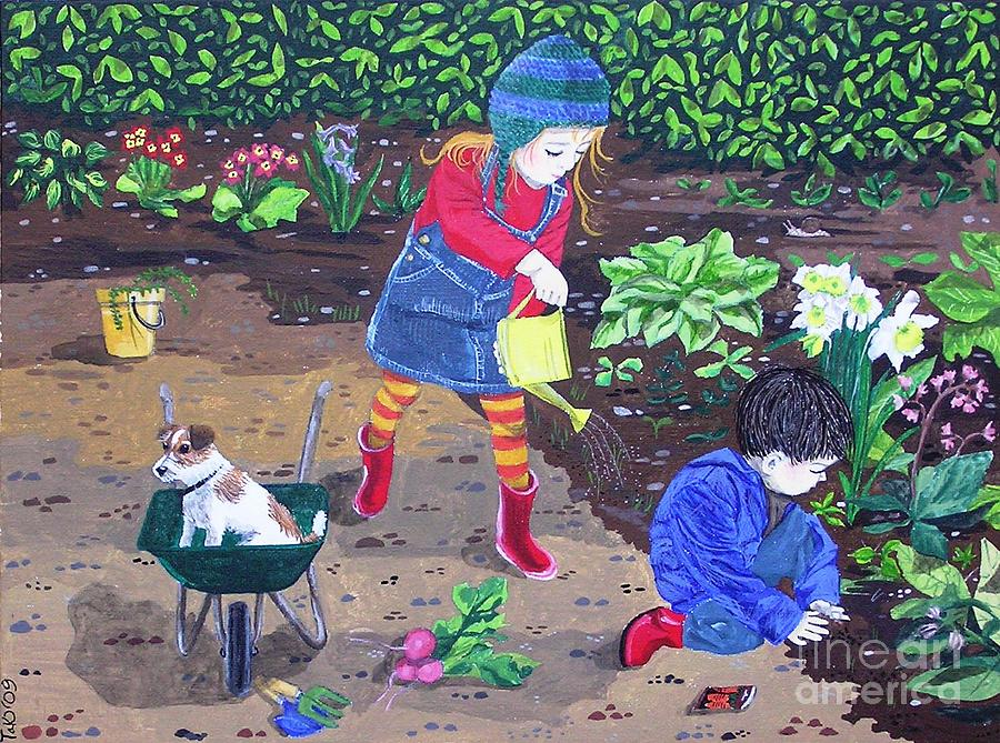 Gardening Painting By Tracey Kemp