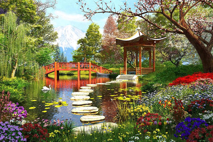 Horizontal Photograph - Gardens Of Fuji by Dominic Davison