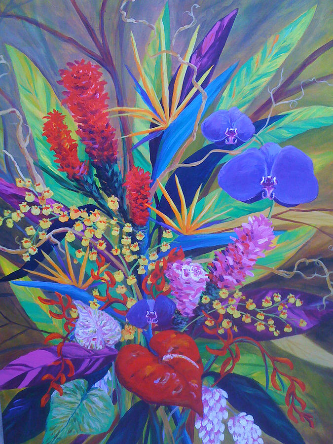 Anthuriums Painting - Gardner Tropicals by Anne Marie Brown