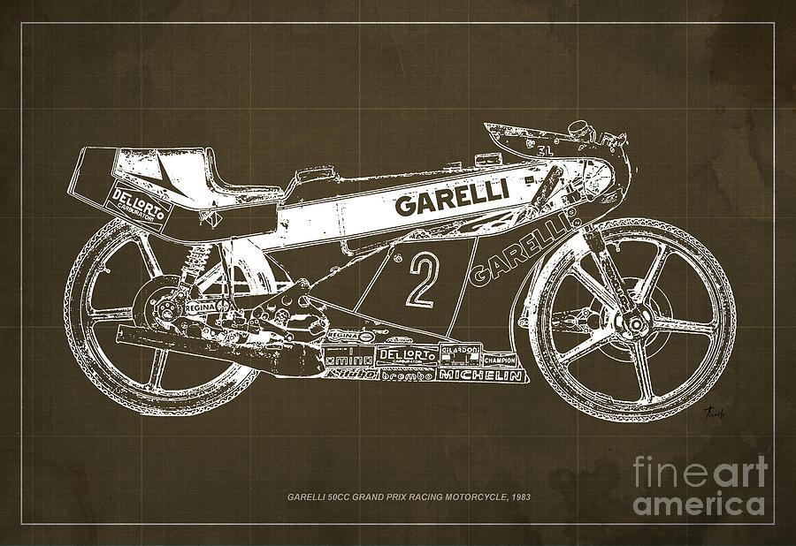 Motocicleta Drawing - Garelli 50cc Grand Prix Racing Motorcycle 1983 Blueprint by Drawspots Illustrations