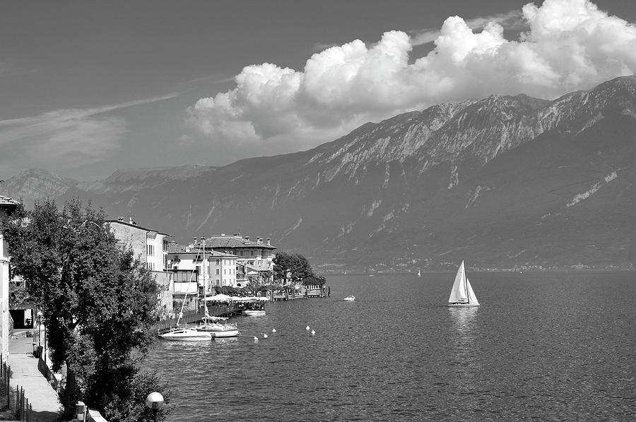 Lake Photograph - Gargnano On Lake Garda, Italy.    Black And White by David Lyons
