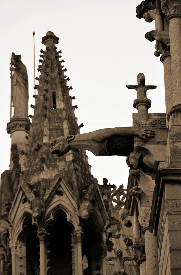 Gargoyle And Gothic Architecture Of Notre Dame Cathedral Paris