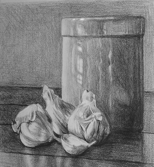 Pencil Sketch Drawing - Garlic And Crock by William Hay
