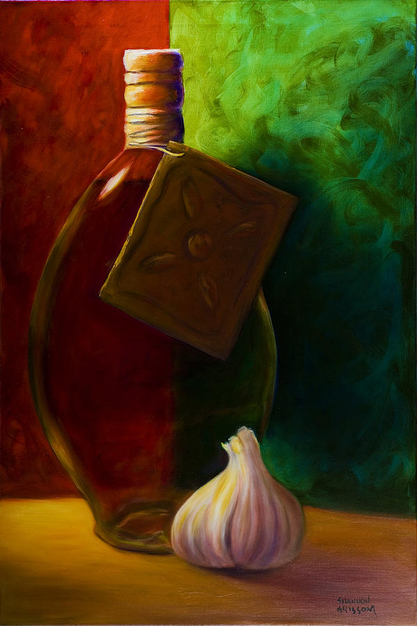 Gold Painting - Garlic And Oil by Shannon Grissom