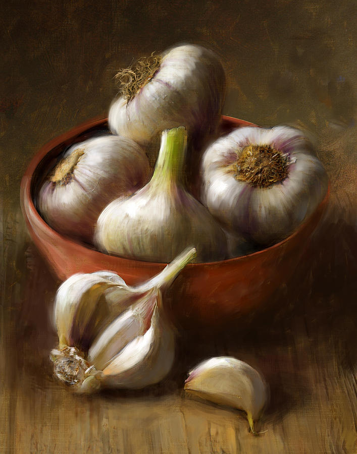 Garlic Painting - Garlic by Robert Papp