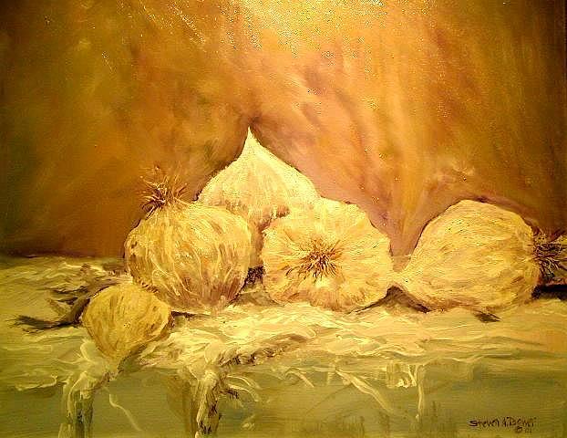Still Life Painting - Garlic by Steven Bower
