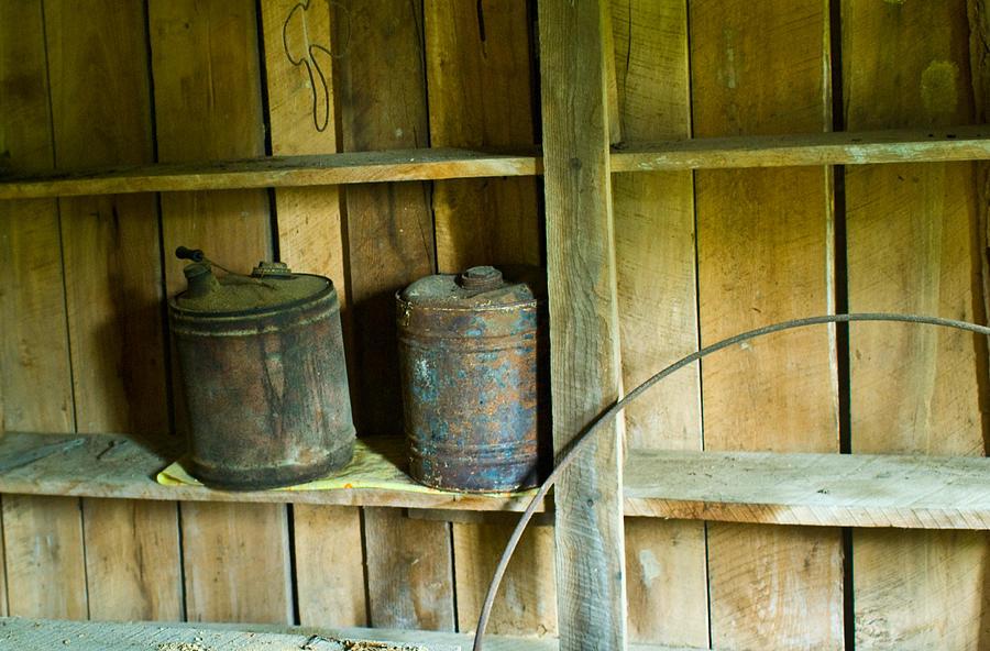 Gas Photograph - Gas Cans Long Forgotten by Douglas Barnett
