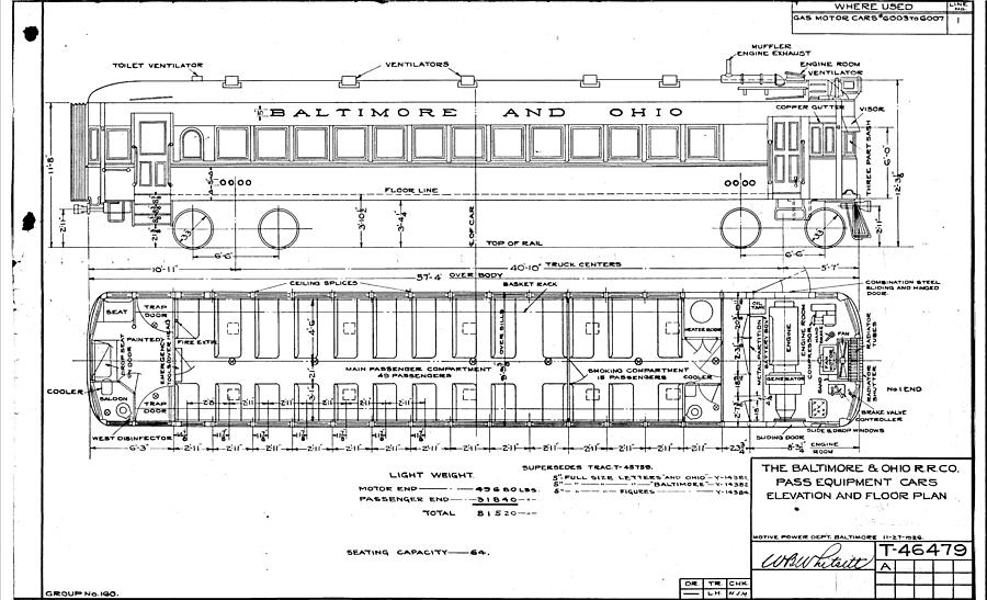 baltimore drawing - gas electric car diagram by baltimore and ohio railroad