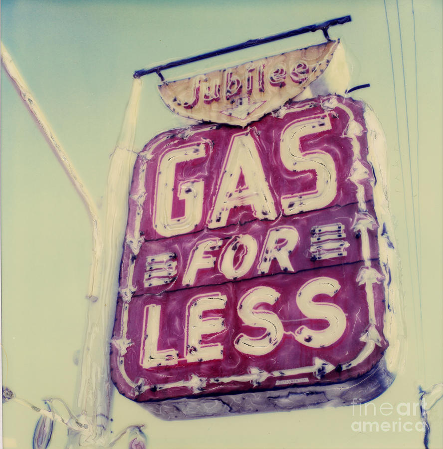 Polaroid Photograph - Gas For Less by Steven  Godfrey
