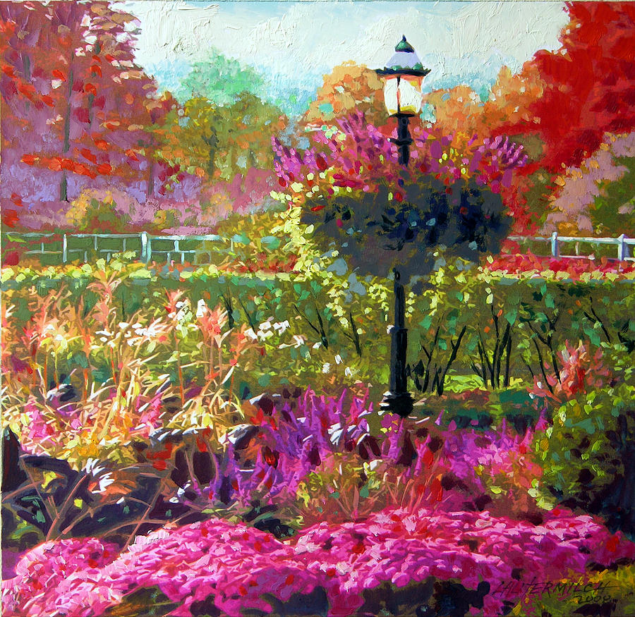 Landscape Painting - Gas Light in the Garden by John Lautermilch