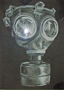 Charcoal Drawing - Gas Mask by Tiffany Everett