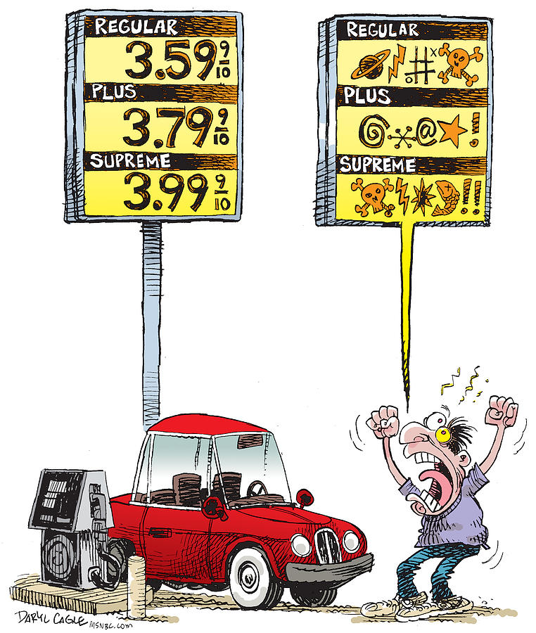 Gas Prices Drawing - Gas Price Curse by Daryl Cagle