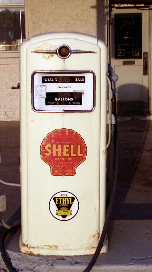 Antique Photograph - Gas Pump by Michael Peychich