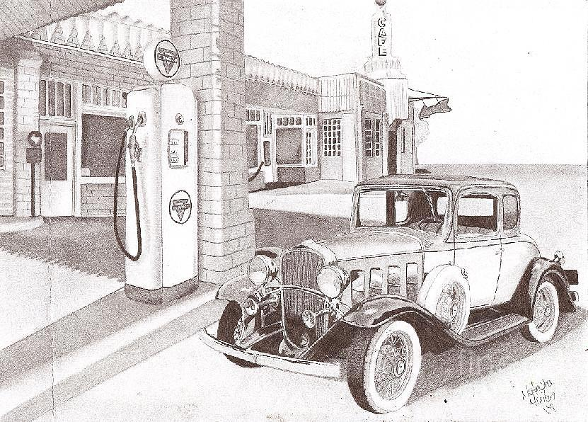 Old Gas Station Drawing Gas Station Dra...