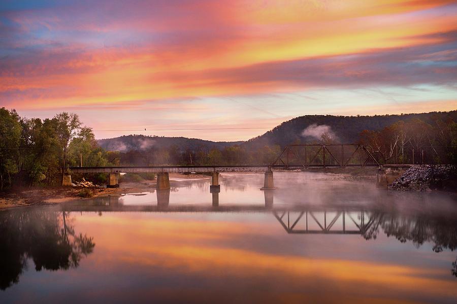 Bridge Photograph - Gasconade River Sunrise by Jae Mishra