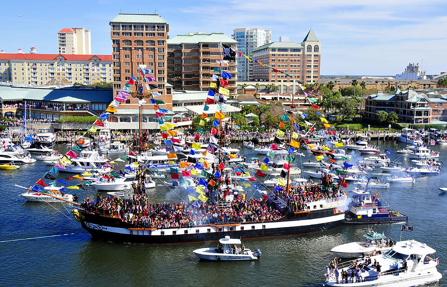 Gasparilla Pirate Festival Photograph - Gasparilla And Harbor Island Florida by David Lee Thompson