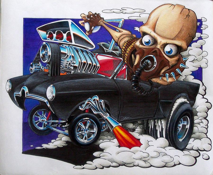 Hot Rod Drawing - Gasser by Jason Hunt
