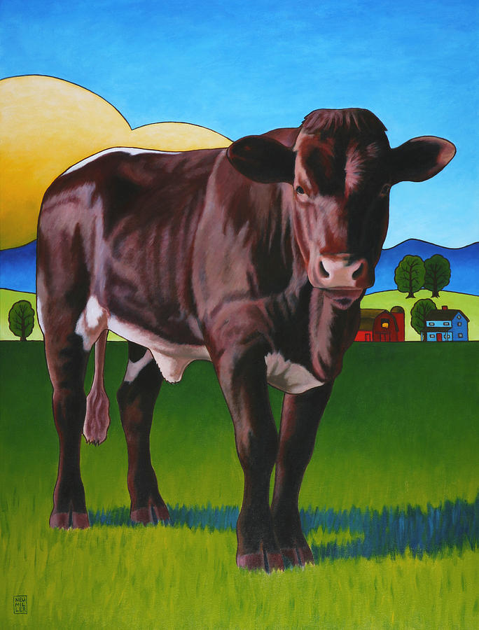 Cow Painting - Gaston by Stacey Neumiller